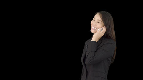 Japanese business woman talking on iphone 1 Footage