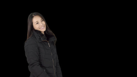 Japanese woman wearing coat in winter Footage