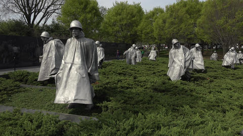 Washington DC Korean War Veterans Memorial soldiers 4K 015 Footage