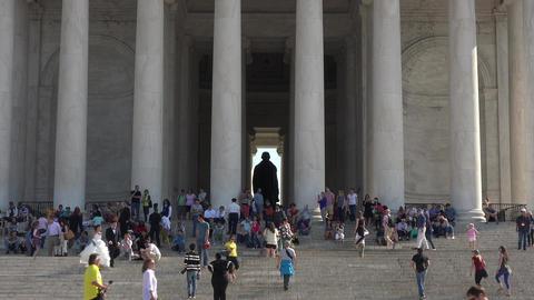 Washington DC Jefferson Monument tourism front steps 4K 060 Footage