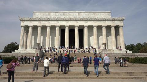Washington DC Lincoln Memorial front entrance tourism 4K 010 Footage
