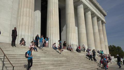 Washington DC Lincoln Memorial front steps tourists 4K 009 Live Action