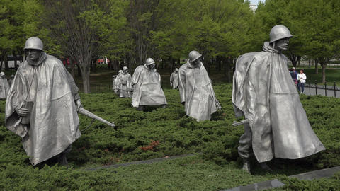Washington DC Korean War Veterans Memorial soldiers tourists 4K 020 Footage