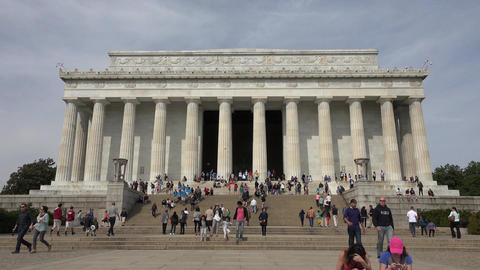 Washington DC Lincoln Memorial front tourist entrance 4K 011 Footage