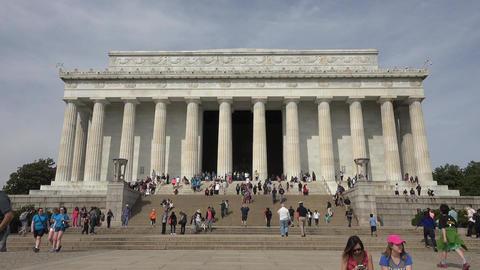 Washington DC Lincoln Memorial front tourist entrance fast 4K 011 Footage