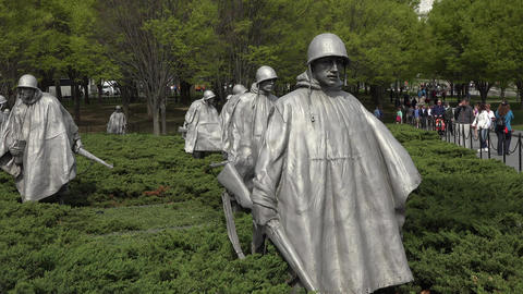 Washington DC Korean War Veterans Memorial soldiers tourism 4K 022 Footage