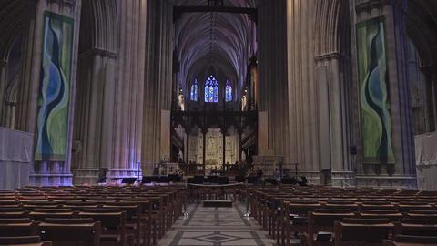 Washington DC National Cathedral isle to altar 4K 017 Footage
