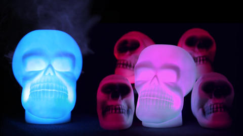 Spooky Skulls In Light Footage