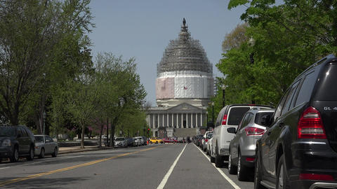 Washington DC Nations Capitol Building traffic taxi 4K 022 Footage