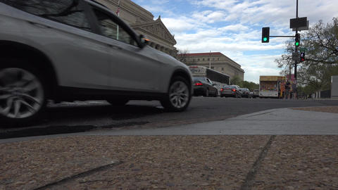 Washington DC US Archive Building road busy traffic 4K Live Action