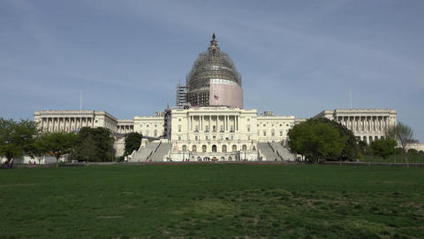 Washington DC US Capitol Building from front lawn 4K 051 Footage