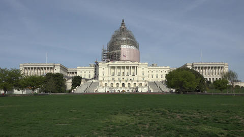 Washington DC US Capitol Building from front lawn fast 4K 051 Footage