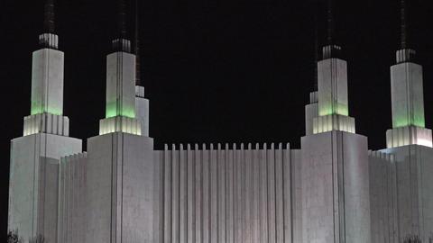 Washington DC Temple LDS Mormon night beautiful zoom 4K 079 Footage