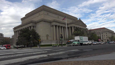 Washington DC USA National Archive Building across road traffic 4K 047 Live Action