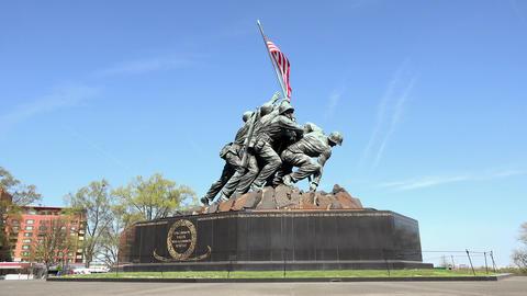 Washington DC United States Marine Corps War Memorial statue 4K Footage