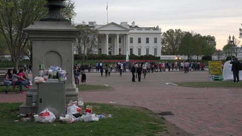 Washington DC White House tourists junk trash 4K Live Action