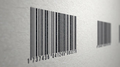 Animation of barcodes on paper texture scanned by a barcode reader Animation