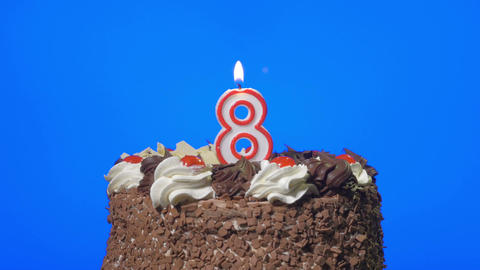 4k - Blowing out number eight birthday candle on a delicious chocolate cake, blu Live Action