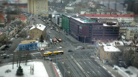 Traffic cross roads time lapse in Lithuania Footage