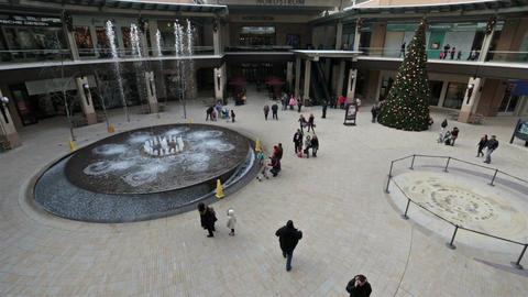 Water splash fountain luxury shopping mall HD 0254 Footage