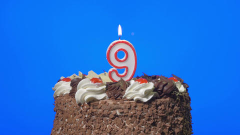 4k - Blowing out number nine birthday candle on a delicious chocolate cake, blue Footage