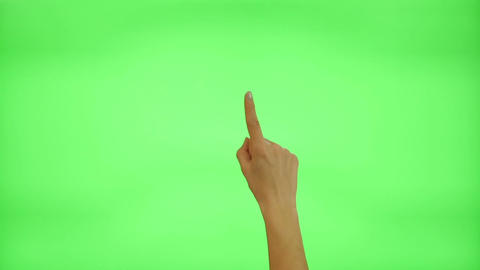17 touchscreen gestures - female hand, on a green screen Footage