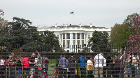 White House Washington DC tourists security fence 4K Footage