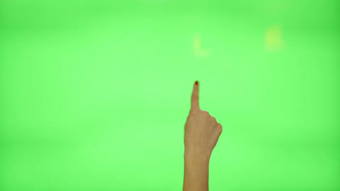 11 touchscreen gestures - female hand with red nails, on a green screen Footage