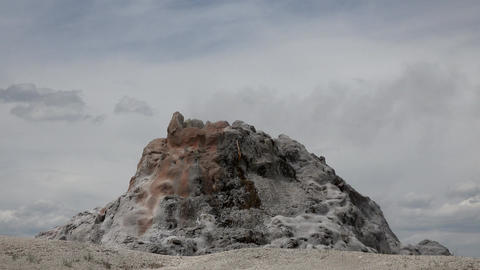 White Dome Geyser Steam Yellowstone National Park 4K Footage