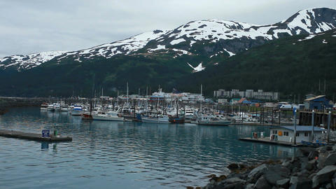 Whittier Alaska marina evening P HD 8100 Footage