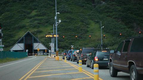 Whittier Alaska tunnel evening pan P HD 8109 Footage