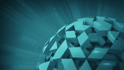 Cyan polygonal ball rotating seamless loop 3D render Animation