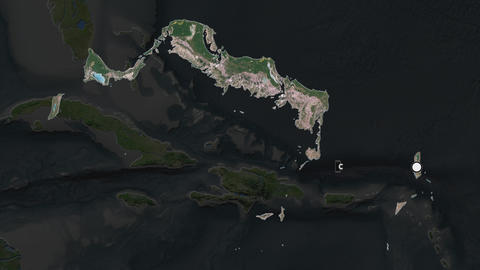 Turks And Caicos Islands and capital circled and zoomed. Satellite Animation