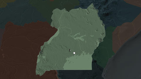 Uganda and capital circled and zoomed. Administrative Animation