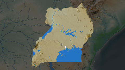 Uganda and capital circled and zoomed. Physical Animation