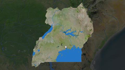 Uganda and capital circled and zoomed. Satellite Animation