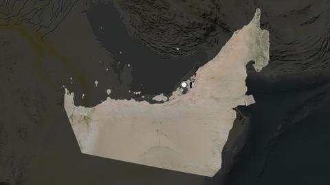 United Arab Emirates and capital circled and zoomed. Satellite Animation