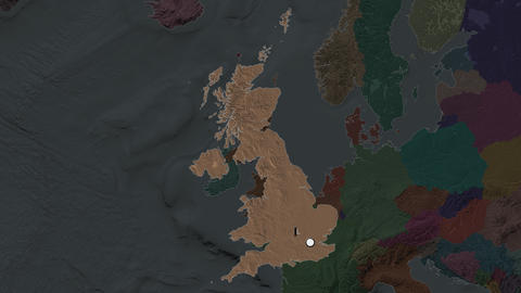 United Kingdom and capital circled and zoomed. Administrative Animation