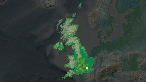 United Kingdom and capital circled and zoomed. Physical Animation