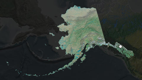 United States Alaska and capital circled and zoomed. Topographic Animation