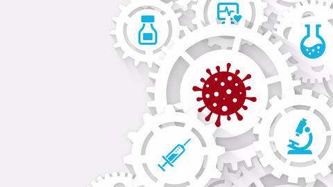 coronavirus COVID-19 medical concept with gears and pandemic prevention and research icons Animation