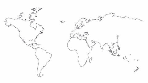 hand drawn blank world map isolated on white background modern abstract business concept Animation