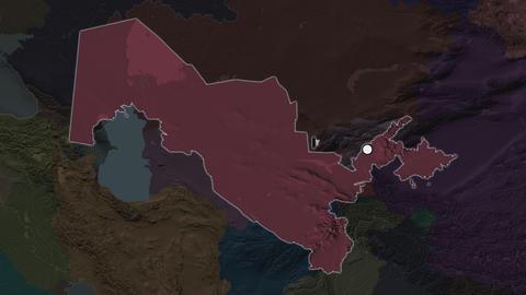 Uzbekistan and capital circled and zoomed. Administrative Animation