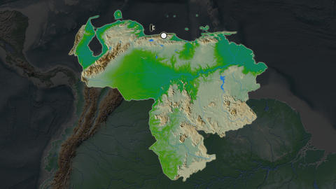Venezuela and capital circled and zoomed. Physical Animation