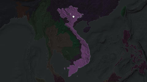 Vietnam and capital circled and zoomed. Administrative Animation