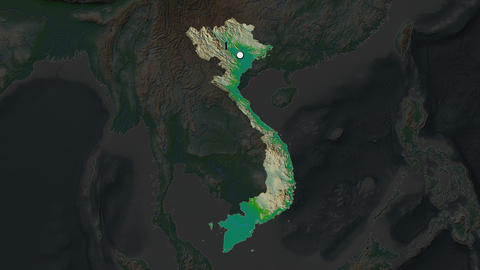 Vietnam and capital circled and zoomed. Physical Animation