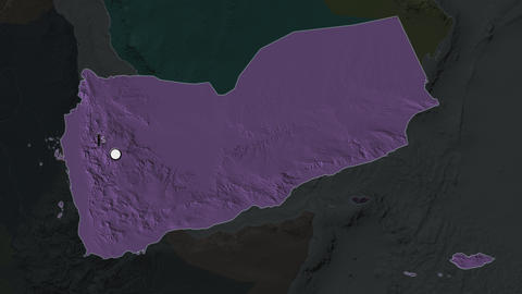 Yemen and capital circled and zoomed. Administrative Animation