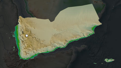 Yemen and capital circled and zoomed. Physical Animation