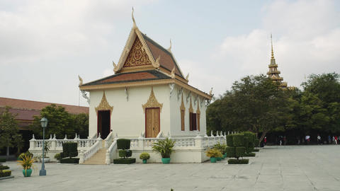 Exterior Of The Royal Palace In The Phnom Penh, Cambodia, Asia. 4K Live Action