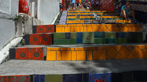 Rio De Janeiro, Brazil. Selaron Stairways. Walking Low Angle, Artistic Landmark Live Action